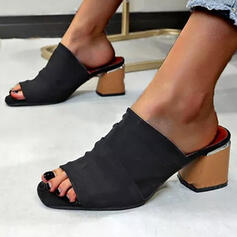Femmes Tissu Talon bottier Sandales À bout ouvert avec Couleur unie Couleur d'épissure chaussures