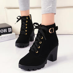 Women's PU Chunky Heel Boots Heels With Buckle Lace-up Solid Color shoes