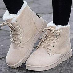 Femmes Suède Talon plat Bottines bout rond Bottes d'hiver Bottes neige avec Boucle Dentelle chaussures