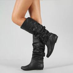 Femmes PU Talon bas Bottes hautes avec Plissé chaussures