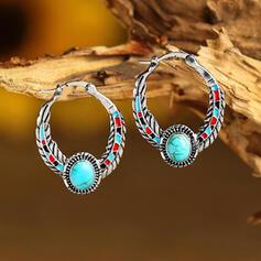 Beau Bohème Alliage Turquoise Femmes Boucles d'oreilles 2 PCS