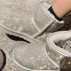 Femmes PU Talon plat Bottes mi-mollets Bottes neige bout rond avec Strass Couleur unie chaussures