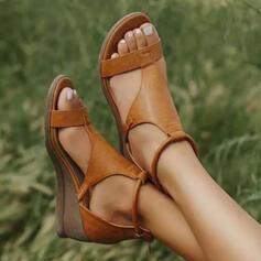 Femmes Similicuir Talon compensé Sandales Compensée À bout ouvert avec Boucle chaussures