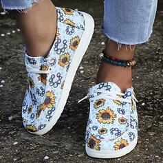 Women's Canvas Flat Heel Flats Low Top Round Toe With Lace-up Flower Print shoes
