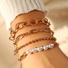 À la mode En couches De faux pearl Métal avec De faux pearl Bracelets 4 PIÈCES