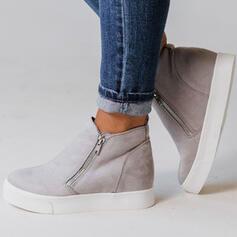 Femmes Suède Talon plat Bottines Low Top bout rond avec La copie Animale Zip Couleur unie chaussures