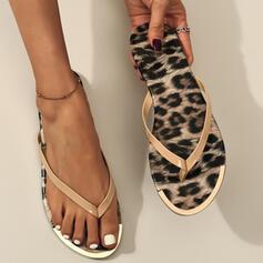 Women's PVC Flat Heel Sandals Flats Peep Toe Flip-Flops Slippers Round Toe With Animal Print shoes