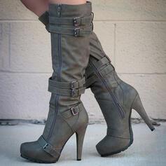 Femmes Suède Talon stiletto Bottes Bottes mi-mollets avec Couleur unie chaussures