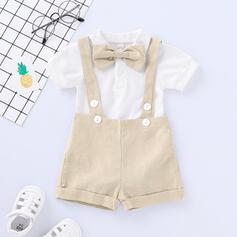 2 pièces bébé Bowknot Couleur Unie Coton Définir La Taille