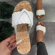 Women's PU Flat Heel Sandals Flats Peep Toe Flip-Flops Slippers With Braided Strap Solid Color shoes