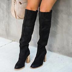 Femmes PU Talon bottier Bottes hautes Talons Bout pointu avec Plissé Couleur unie chaussures