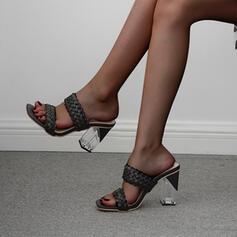 Femmes PU Talon stiletto Sandales Escarpins Bout carré avec Lanière tressé chaussures