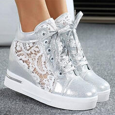 Women's PU Wedge Heel Platform Ankle Boots Low Top Round Toe With Stitching Lace Lace-up shoes