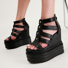 Women's PU Wedge Heel Sandals Peep Toe Heels With Buckle Hollow-out Solid Color shoes