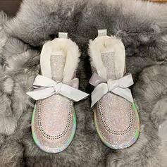 Femmes PU Talon plat Bottes mi-mollets Bottes neige bout rond avec Strass Dentelle Couleur unie chaussures