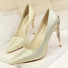 Women's Satin Stiletto Heel Pumps Closed Toe With Jewelry Heel shoes