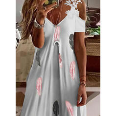 Print Lace Short Sleeves Cold Shoulder Sleeve Shift Above Knee Casual/Vacation Dresses