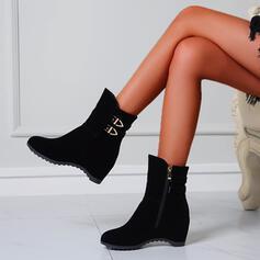 Femmes Similicuir Talon plat Bottes mi-mollets bout rond avec Zip Couleur unie chaussures