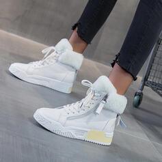 Femmes PU Talon plat Bottines bout rond avec Zip Dentelle Couleur unie chaussures