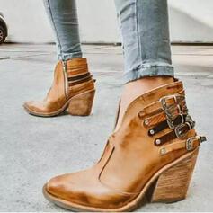 Femmes PU Talon bottier Bottines Bout pointu avec Rivet Boucle chaussures