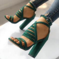 Femmes Suède Sandales Escarpins À bout ouvert avec Boucle chaussures