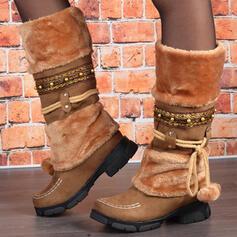 Femmes PU Talon bottier Bottes neige bout rond avec Dentelle Couleur d'épissure chaussures
