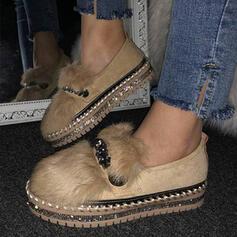 Femmes Suède Talon plat Chaussures plates bout rond Glisser sur avec Fausse Fourrure chaussures