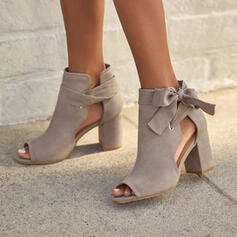 Women's Suede Chunky Heel Sandals Pumps Peep Toe Ankle Boots Round Toe With Lace-up Solid Color shoes