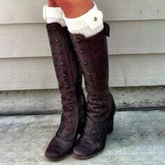 Femmes Similicuir Talon bottier Bottes Bottes hautes bout rond Bottes d'hiver avec Boucle Zip Dentelle chaussures
