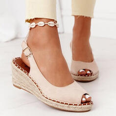 Women's PU Wedge Heel Sandals Platform Wedges Peep Toe With Buckle Solid Color shoes