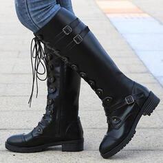 Femmes PU Talon bottier Bottes hautes bout rond avec Boucle Dentelle chaussures