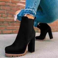 Femmes Suède Talon bottier Bottines bout rond Glisser sur avec La copie Animale Bande élastique chaussures