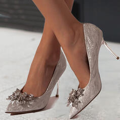 Women's PU Stiletto Heel Pumps Heels With Rhinestone Sparkling Glitter Solid Color shoes