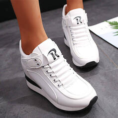 Women's PU Wedge Heel Ankle Boots Round Toe Winter Boots With Lace-up Velcro Solid Color shoes