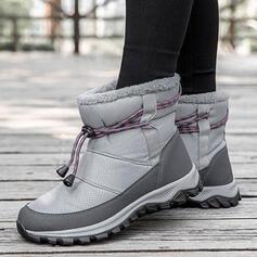 Femmes Tissu Talon plat Bottes mi-mollets Bottes neige bout rond avec Dentelle Couleur unie chaussures