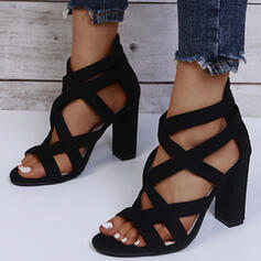 Women's PU Chunky Heel Sandals Peep Toe With Solid Color shoes
