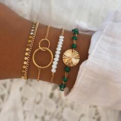 À la mode Refroidir Alliage avec Perle d'imitation Bracelets (Ensemble de 4 paires)