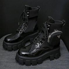 Bottes Bottines Bottes neige Martin bottes Haut haut bout rond avec Zip Dentelle Autres Bloc de couleur Couleur unie chaussures