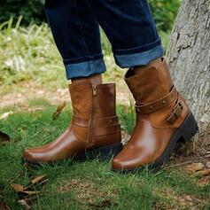 Femmes PU Talon bottier Bottines bout rond avec Boucle Zip chaussures