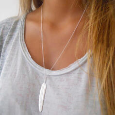 Simple Alliage avec Feather Colliers