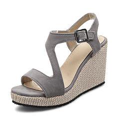 Femmes Suède Talon compensé Escarpins Plateforme Compensée À bout ouvert Escarpins avec Boucle chaussures