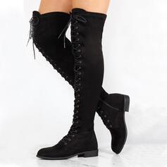 Femmes PU Talon bottier Cuissardes bout rond avec Zip Dentelle chaussures