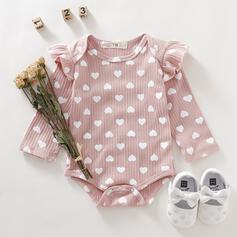 Bébé Fille P-24mois Réglable Cœur Plissé Imprimé Coton Une pièce