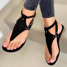 Women's PU Flat Heel Sandals Flats Flip-Flops With Rivet Hollow-out Solid Color shoes