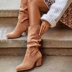 Femmes PU Talon bottier Bottes mi-mollets Talons bout rond avec Plissé Couleur unie chaussures
