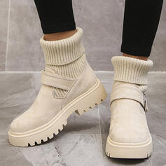 Women's PU Low Heel Sock Boots With Solid Color shoes