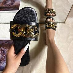 Femmes PU Talon plat Sandales Chaussures plates avec Chaîne chaussures