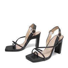 Femmes PU Talon stiletto Sandales Escarpins À bout ouvert Bout carré avec Boucle Une fleur chaussures