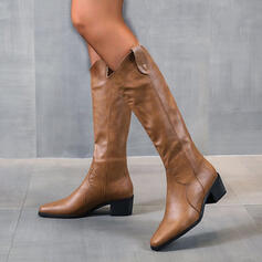 Femmes PU Talon bottier Bottes Bottes hautes Bout pointu avec Couleur unie chaussures