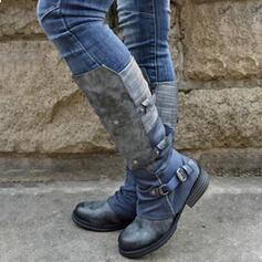 Femmes PU Talon bottier Bottes hautes Bottes cavalières bout rond avec Boucle Zip Dentelle chaussures